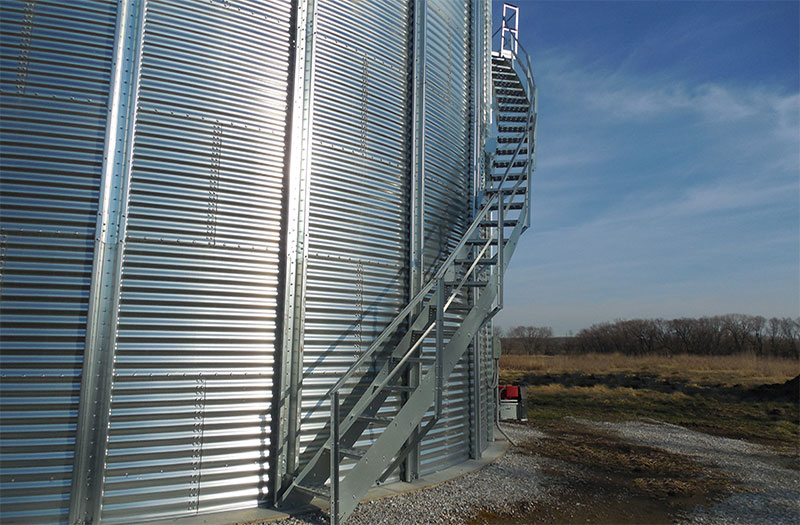Grain Bin Stairs To Acces Grain For Commercial Grain Bins